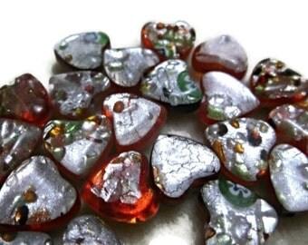 Heart Handmade Bead LAMPWORK Glass Focal Spacer Amber beading Jewellery Making