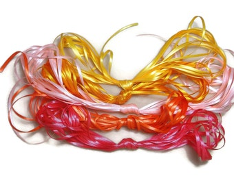 Ribbon Satin (3mm) Tropical Sunrise 50 Metres crafts sewing gifts wedding bows party