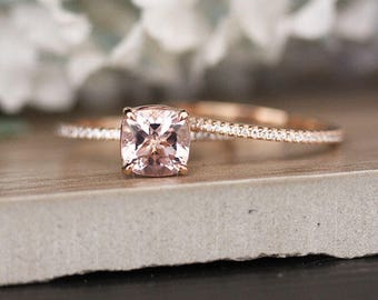 Bridal Ring Set with 7mm Cushion Morganite and Diamonds in 14k Rose Gold, Morganite Engagement Ring, Diamond Half Eternity Band
