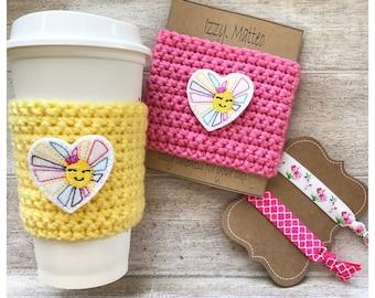 Sunshine Rainbow Heart cup cozy, cup cozy, reusable cup sleeve, teacher gift, birthday gift