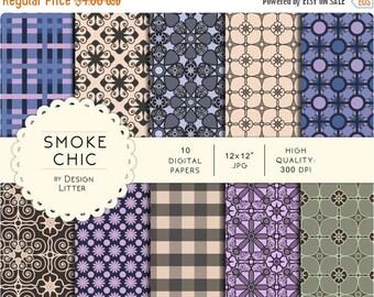"80% Until New Year - Digital Paper Pack - Smoke Chic - mauve grey flowers elegant papers - 10jpg-12x12""-300dpi - scrapbook paper, scrapbooki"