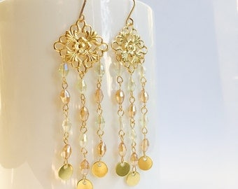 Filigree Chandelier Earrings, Crystal Chandelier Earrings, Disc Earrings