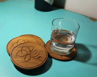 Handmade Coaster Set - Flower Design - 4 Coaster set - available in Oak, Padauk or Cherry