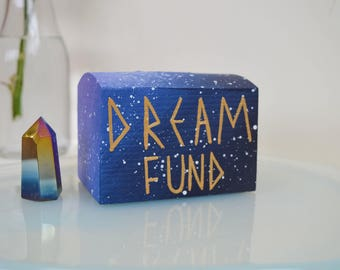 Dream Fund - Pine Wood Hand Painted - Small Money Box - Galaxy Art - Coins - Acrylic - Wanderlust - Geometric Writing - Piggy Bank - Blue