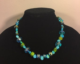 Hand-Made Beaded Necklace - Blue, Green, Turquoise