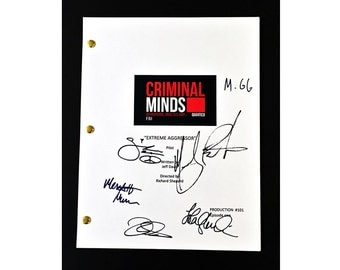 "Criminal Minds Signed Script Rpt Pilot ""Extreme Aggressor"" Matthew Gray Gubler, Shemar Moore, Thomas Gibson"