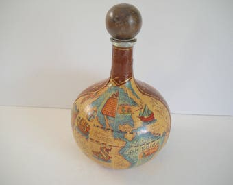 Leather Decanter World Map Made in Italy
