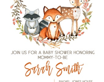 Printable Baby Shower Invitation / Woodland Baby Shower / Custom Invitation