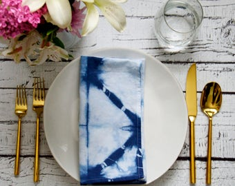 Indigo Shibori dyed Cloth Napkins, Dinner Party, Anthropologie Inspired, Brunch Tablescape