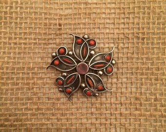 Coral Flower Pin/Pendant