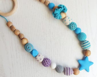 Teething necklace - Silicone nursing necklace - Crocheted necklace - Babywearing eco friendly necklace