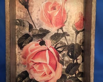 Serving Tray//Drink Tray//Wood Tray//Roses