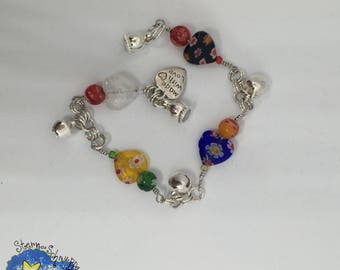 Bracelet, glass jewelry, glass beads, bead charm, birthday gift, mother's day, confirmation, confirmation, communion, friendship, braclet,