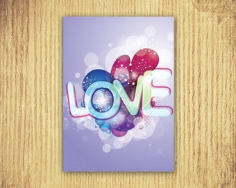 Love ~ Valentine Card ~ 5 by 7 ~ Digital Download Only