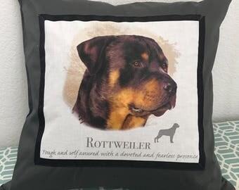 Rottweiler throw pillow case, dog throw pillow, Rottie pillow case, Rottie throw pillow
