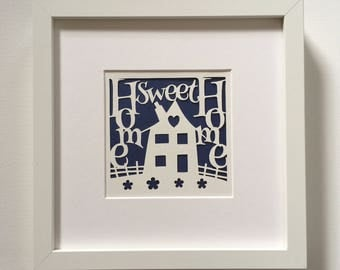 Home sweet home, housewarming gift, new home gift, new house gift, handcut papercut