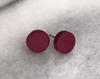 Handmade Polymer Clay Stud Earrings - Crimson / Maroon