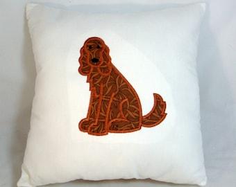 Irish Setter Dog Applique Embroidered Decorative Accent Pillow