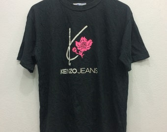 Kenzo Jeans Tshirt tee Spell Out Big Logo Rose