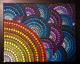 Original Mandala Dot painting, hand made by Anna Kep, wall art decor for home.