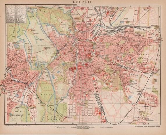 Antique Map Of Leipzig Germany From Leipzig Leipzig - Map of leipzig
