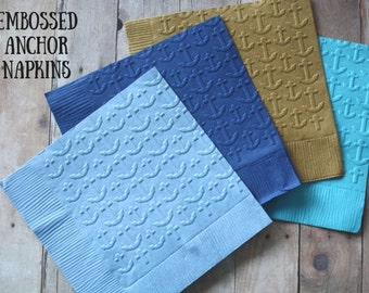 Embossed Anchors Napkins/ Embossed Napkins/ Anchor napkins/ nautical napkins/ sailor napkins/ napkins/ ocean napkins/ nautical/ anchor