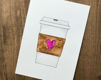 Coffee Love ‖ Original Watercolor ‖ 5x7