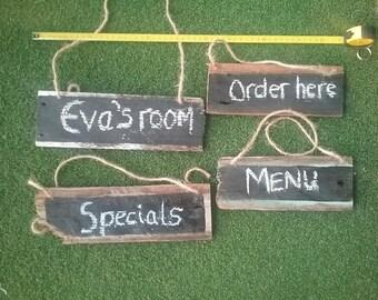 Small Rustic Wood Chalk Signs Menu