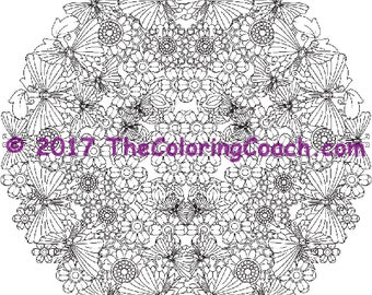 Garden mandala, colouring page, butterflies colouring, colouring flowers