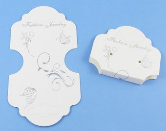 Bulk 25pk Earring Jewelry Hanging Display Card Butterfly White 102x55mm  (DC015)