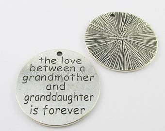 Bulk The Love Between Grandmother & Granddaughter Charm Pendant 33mm Select Qty