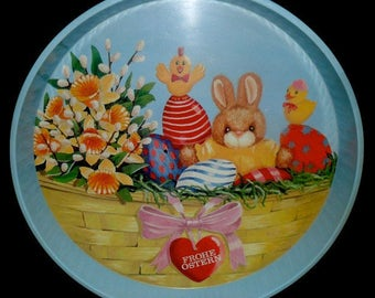 SALE**Vintage German Easter Serving Tray~Frohe Ostern~Happy Easter~Metal Serving Tray~Vintage Easter Deco~German Easter Deco~