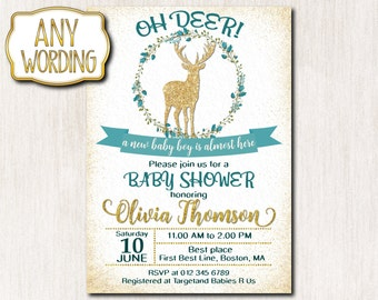 Oh deer baby shower invitations, Little Deer Baby Sprinke Invitation, Spring Baby Boy Shower invitation, Baby Sprinkle invitation - 0068