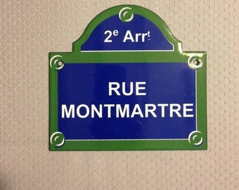 French Street Enamel Sign Plaque - PARIS RUE MONTMARTRE