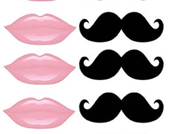 Instant Download Light pink lips and mustache Photo booth props  Instant Download