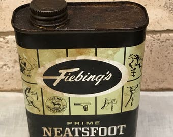 Vintage Fiebing's Prime Neatsfoot Oil Compound Can, Vintage Advertising, Yellow and Black Metal Can, Vintage Advertising Can,