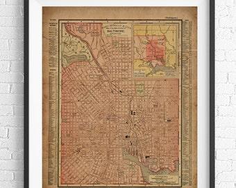 1855 Boston Map Print Boston MA Boston Massachusetts Map