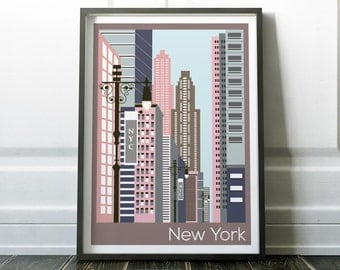 New York Print, New York Poster, Travel Print, Prints, Wall Art, New York City Poster, Modern Travel Print, Wall Art Prints, New York Art