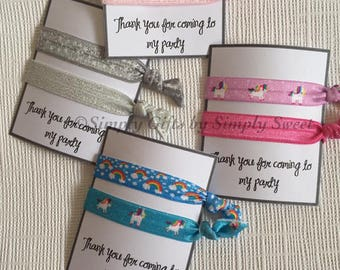 Thank You For Coming To My Party Hair/Wrist Bands Birthday Party Favours Gifts