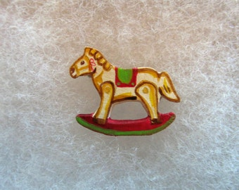 Child's Rocking Horse Jewelry Pin - handcarved and handpainted