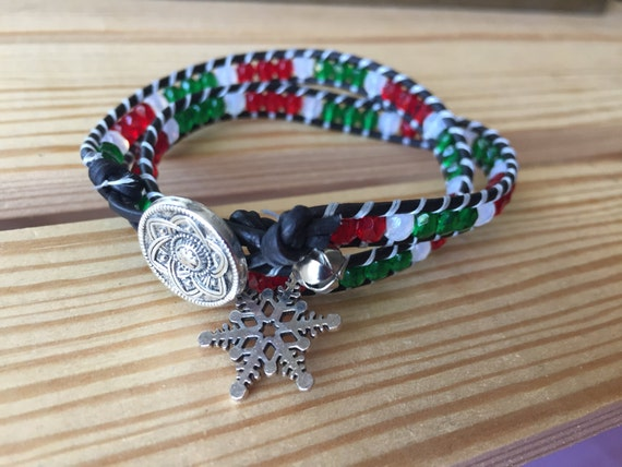 Christmas bracelet, red and green, snowflake, jungle bell, charm bracelet, gift, Christmas, holiday, 4mm double wrap bracelet