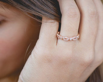 Rose Gold Band, Art Deco Wedding Band, Eternity Band, Stackable Ring, Marquise & Dot Ring, Diamond Simulants, Sterling Silver
