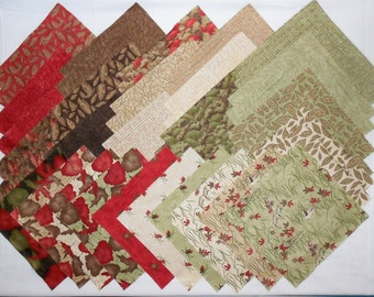 """MODA Migration (40ct.-10""""x10"""" squares) Layer Cake- Autumn/Fall Rustic Prints. -brown/tan/olive green/red/leaves/pheasant/grouse/duck (#O191)"""