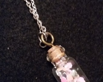 Tiny jar charm necklace with pink hearts