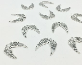 8 Angel Wing Charms Antique Silver Tone Pair of Angel Wing Charms