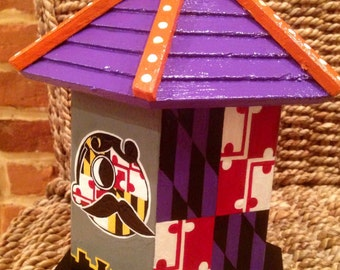 Hand painted Baltimore's orioles,  Ravens, and Natty Boh birdhouse.