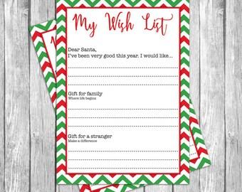 Dear Santa Christmas List  Santau0027s Wish List  Wish List  Printable Christmas  Wish List