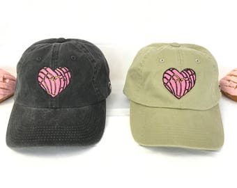 Concha Heart Hat // Pink Concha Dad Hat // Pan Dulce Baseball Cap