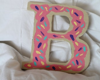 painted wooden letters donut letters donut gift greek letters sorority gift big little monogram dorm decor teenage girl