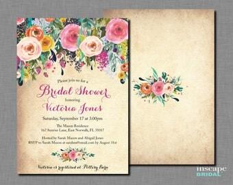 Bridal Shower Invitation PRINTABLE or CUSTOM PRINTED, Shabby Chic, Flowers Roses Garden Bridal Shower Invitation Floral Bridal Shower Invite